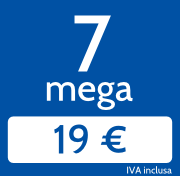 7 Mega Home in download e 1 Mb/s in upload a 19€/mese